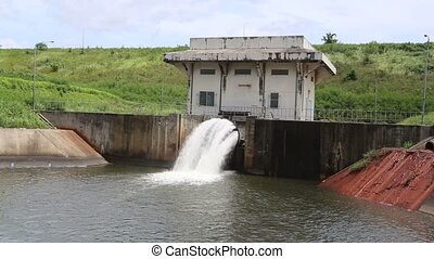 sluice dam in Rayong at Thailand