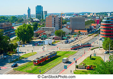 Brno street, Czech Republic - Top view of Brno downtown,...