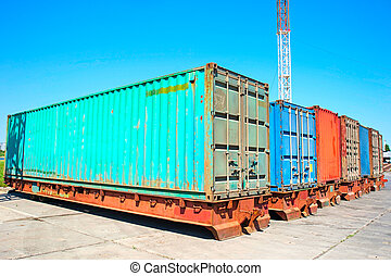Cargo containers - Stack of Cargo Containers at the docks in...