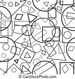 illustration seamless pattern black-and-white geometrical figures for background
