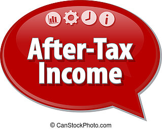 After-Tax Income Business term speech bubble illustration -...