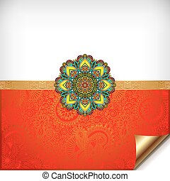 gold and red Happy Rakhi greeting card for indian holiday...