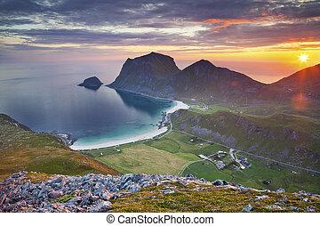 Norway. - View of Lofoten Islands, located in Norway, taken...