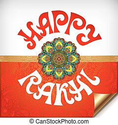 red and white Happy Rakhi greeting card for indian holiday...