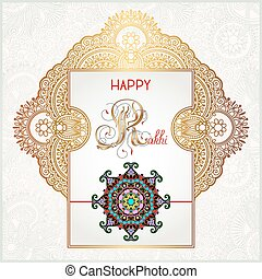 Happy Rakhi greeting card for indian holiday Raksha Bandhan...