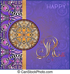 violet greeting card for indian festive sisters and brothers...