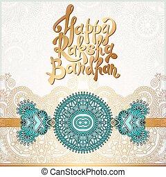 Happy Rakhi greeting card for indian holiday Raksha Bandhan...