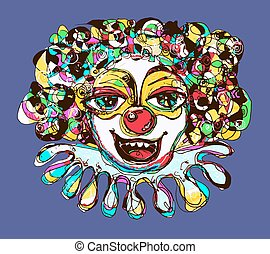 digital coloring drawing of abstract clown - digital drawing...