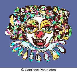 digital coloring drawing of abstract clown - digital drawing...