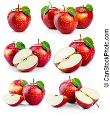 集合, 成熟, 離開, 被隔离, 綠色, 蘋果, 紅色
