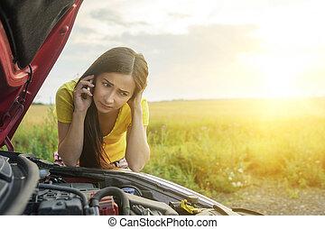 Woman and broken car - Girl near a broken car on the country...