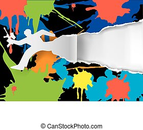 Paintball background - Paintball player ripped paper...