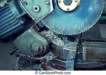 circular saw worksop - old circular saw in a metal workshop