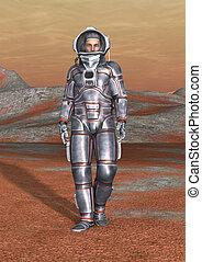 Astronaut - 3D digital render of an astronaut on a red...