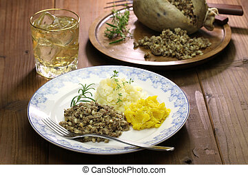 haggis, neeps, and tatties - haggis neeps tatties and scotch...