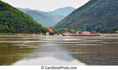 the danube - landscape of the serbian shore of the danube