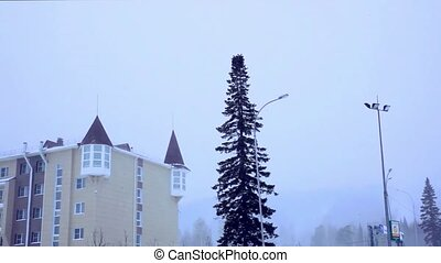 general view of the ski resort in Siberia In a blizzard -...