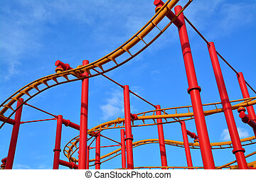 rollercoaster - detail of a red rollercoaster