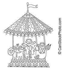 line art illustration of circus theme merry-go-around -...