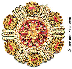 Doily - Decorated ornamental doily - isolated over white...