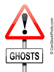 Ghost concept - Illustration depicting a sign with a ghost...