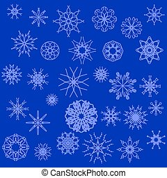Snow Flakes - Winter Snow Flakes Isolated on Blue Background...