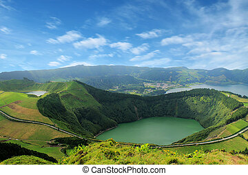 Beautiful lake of Sete Cidades, Azores, Portugal Europe