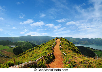 Walking path leading to a view on the lakes of Sete Cidades,...