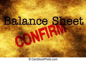 Balance sheet confirm