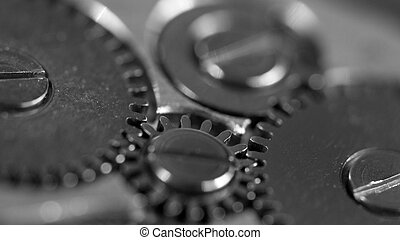 Metal gear wheel,black-and-white Macro Extreme closeup