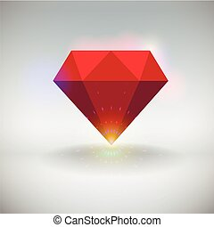 Ruby - Vector illustration of a red shining ruby