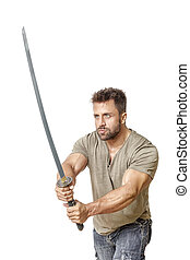 man with sword - An image of a strong man with a sword
