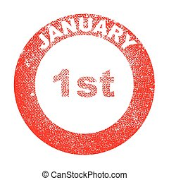 January 1st - A January 1st red in stamp over a white...