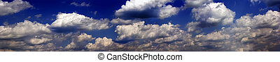 Dark stormy clouds - Panorama skyscape. Dark stormy clouds