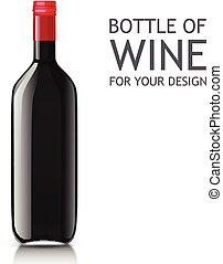 Realistic of glass bottles for wine - Empty glass black...