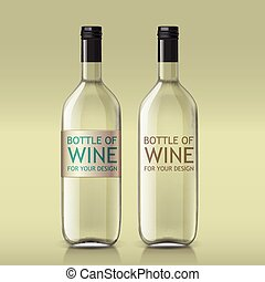 Transparent realistic bottle of wine - Transparent realistic...