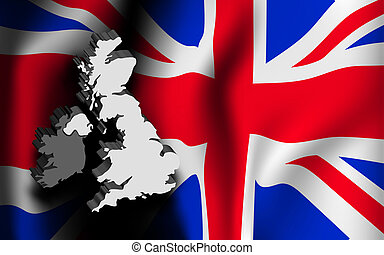 United Kingdom map and flag.