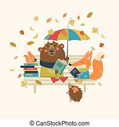 Cute fox and funny bear reading books on bench - Fox,bear,...