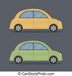 Retro Cars - Flat retro cars, yellow and green colors,...