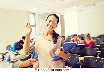 estudiantes, conferencia, sonriente, grupo, vestíbulo