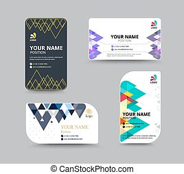 Business card template with Triangle abstract concept and...