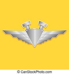 Vector metallic automotive, motorcycle badge with wings....