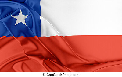Chile Flag. Flag with a beautiful glossy silk texture.