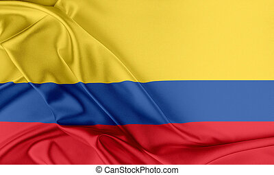 Colombia Flag. Flag with a beautiful glossy silk texture.