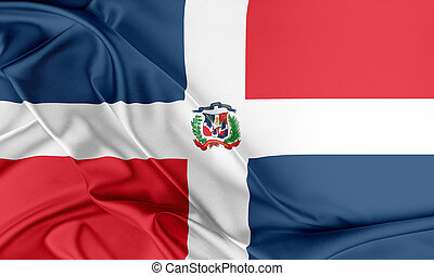 Dominican Republic Flag Flag with a beautiful glossy silk...