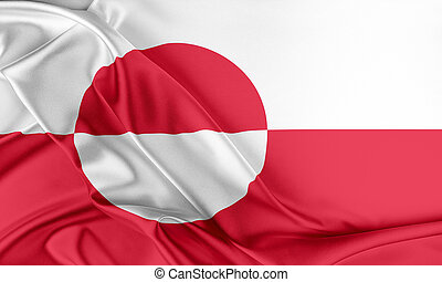 Greenland Flag Flag with a beautiful glossy silk texture