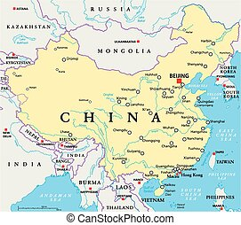 China Political Map - China political map with capital...