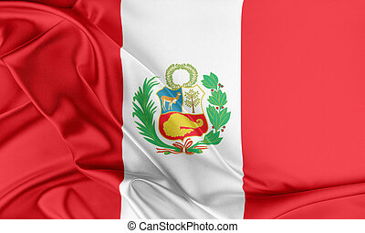 Peru Flag Flag with a beautiful glossy silk texture