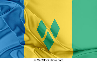 Saint Vincent and the Grenadines Flag. Flag with a beautiful...