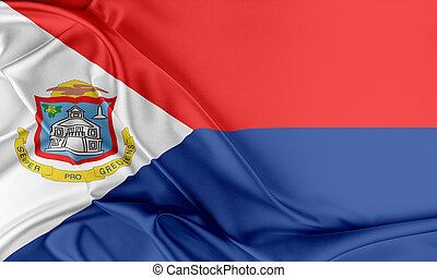Sint Maarten Flag Flag with a beautiful glossy silk texture...